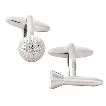 Zennor Golf Ball and Tee Cufflinks - Silver