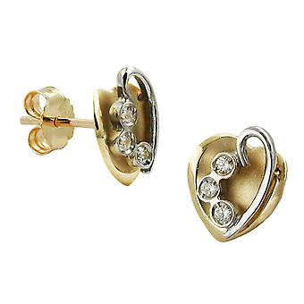 Earrings gold heart heart earrings 375 gold plug heart bicolor cubic zirconia, 9 KT GOLD