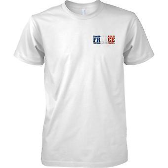 Frankreich-Grunge Name Markierungsfahne Effekt - Tricolor - Kinder-Brust-Design-T-Shirt