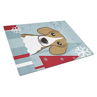 Carolines tesoros BB1735LCB vacaciones de invierno Beagle vidrio tabla de cortar grande