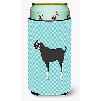 Black Bengal Goat Blue Check Tall Boy Beverage Insulator Hugger