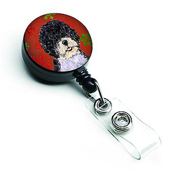 Portuguese Water Dog Red Green Snowflake Christmas Retractable Badge Reel
