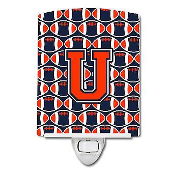 Letter U Football Orange, Blue and white Ceramic Night Light