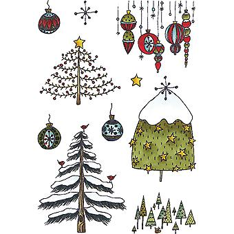 Elizabeth Crafts Clear Stamps-Holiday Trees & Ornaments CS054