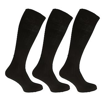 Mens 100% Cotton Ribbed Knee High Socks (Pack Of 3)