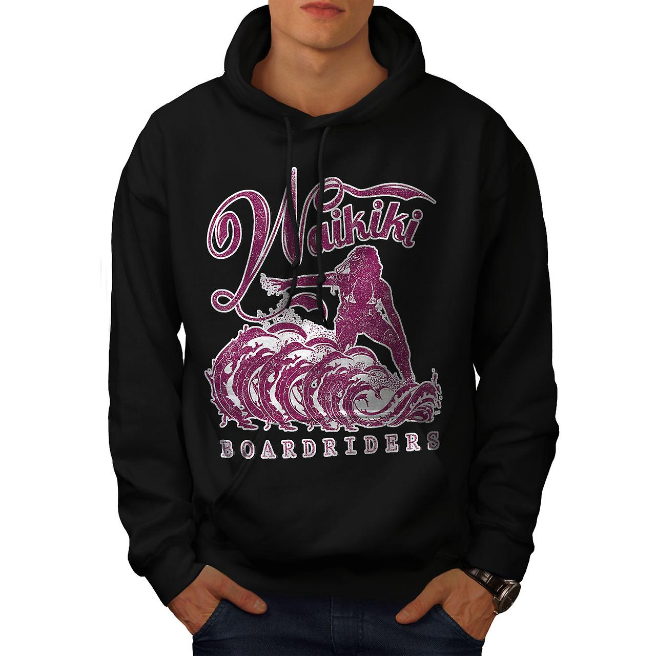 Waikiki Riders Holiday Men Black Hoodie | Wellcoda