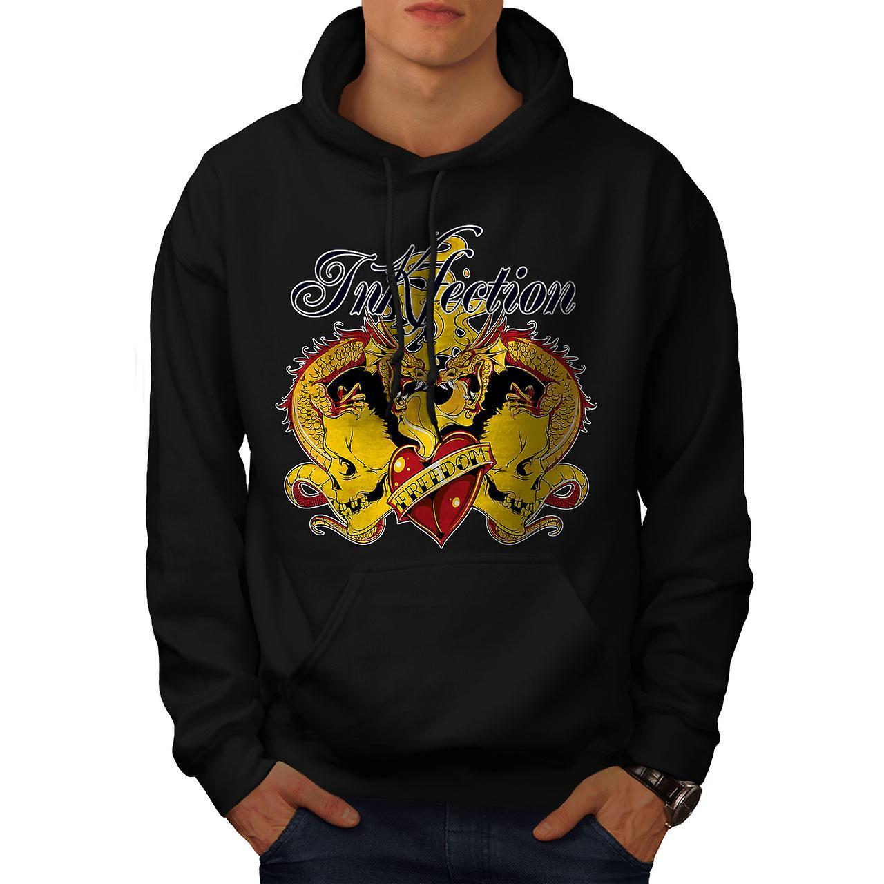 Skull Fire Dragon Vintage Men Black Hoodie | Wellcoda