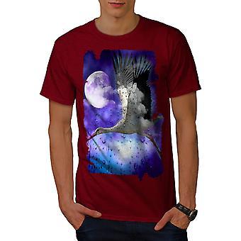 Stork Space Moon Men RedT-shirt | Wellcoda