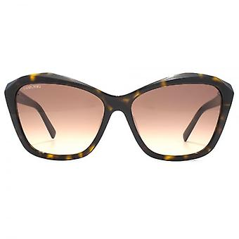 Swarovski Crystal Facets Geometric Sunglasses In Dark Havana