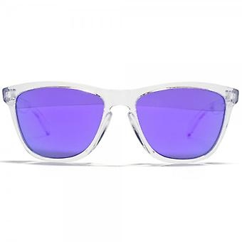 Oakley Frogskins Polished Clear Retro Sunglasses With Violet Iridium Lens