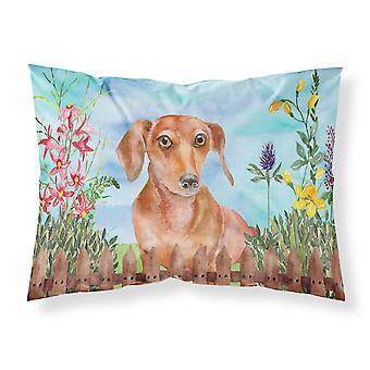 Red Dachshund Spring Fabric Standard Pillowcase