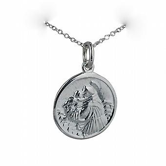 Silver 18mm round St Anthony of Padua Pendant with a rolo Chain 14 inches Only Suitable for Children