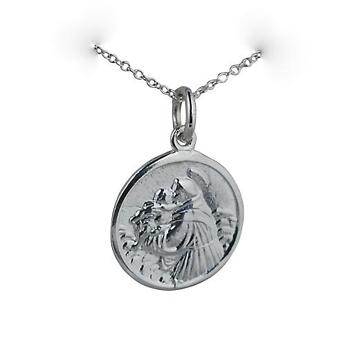 Silver 18mm round St Anthony of Padua Pendant with a rolo Chain 20 inches