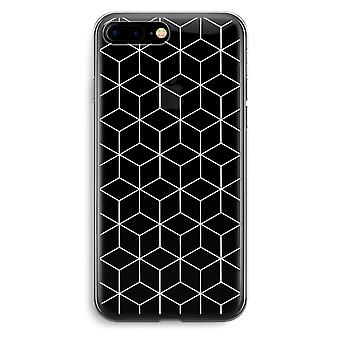 iPhone 7 Plus Transparent Case - Cubes black and white