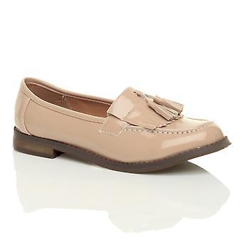 Ajvani Womens flach niedrigem Absatz Quaste lässigen Vintage Loafer Schularbeit pumps Schuhe