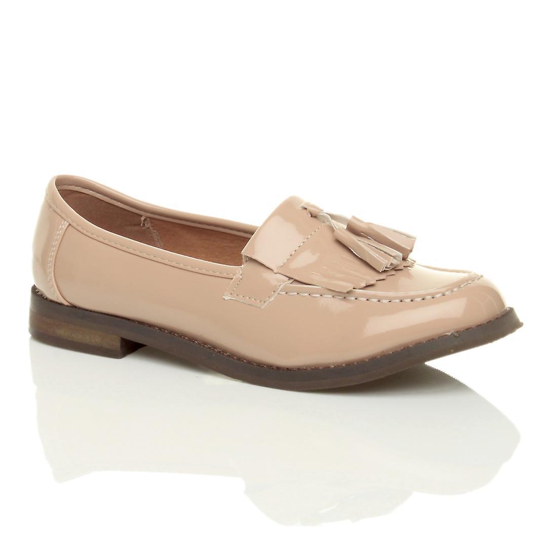 Ajvani womens flat low heel tassel casual vintage loafers school work pumps shoes