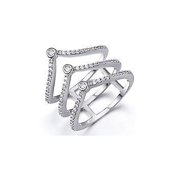 Elementen van de Swarovski Crystal witte ring en Rhodium plaat