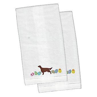 Seter irlandzki Wielkanoc biały haftowany pluszowe Hand ręcznik zestaw 2