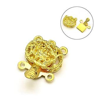 Packet 2 x Golden Metal Alloy Oval Box Clasps 13 x 18mm Y03520