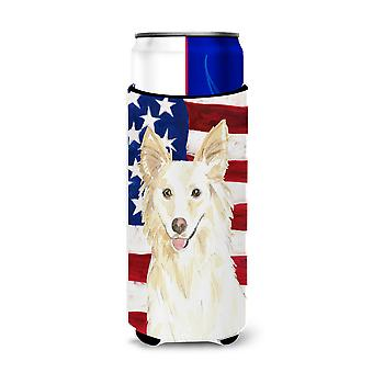 Patriotic USA White Collie Michelob Ultra Hugger for slim cans