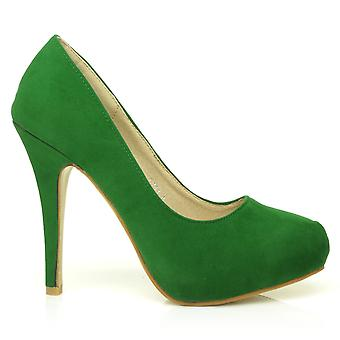 H251 Green Faux Suede Stiletto High Heel Concealed Platform Court Shoes