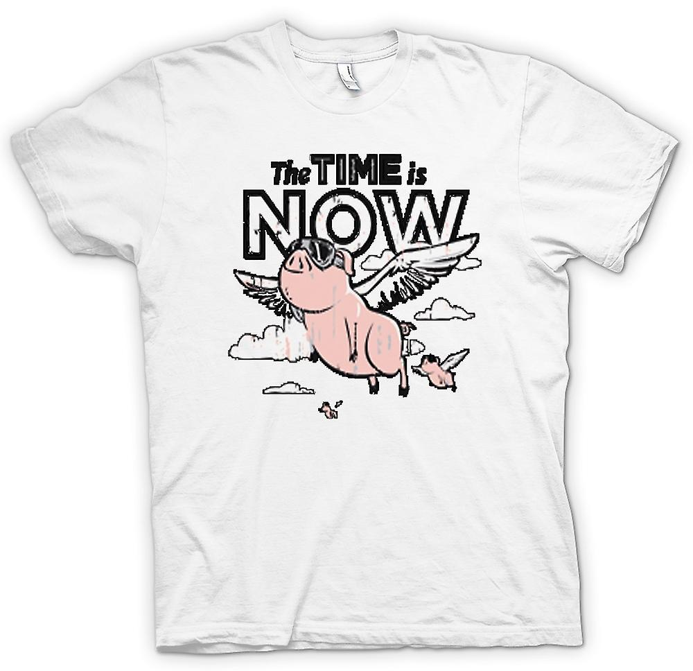 Womens T-shirt - The Time Is Now Pigs Can Fly