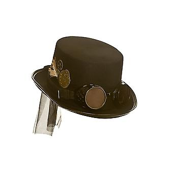 Adults Unisex Black Steampunk Hat With Goggles & Feather Fancy Dress Accessory