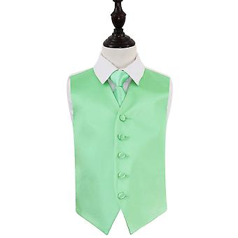 Mint Green Plain Satin Wedding Waistcoat & Tie Set for Boys
