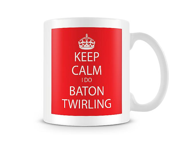 Mantenga calma que hago bastón girando impreso taza