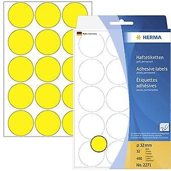 Herma 2271 Labels Ø 32 mm Paper Yellow
