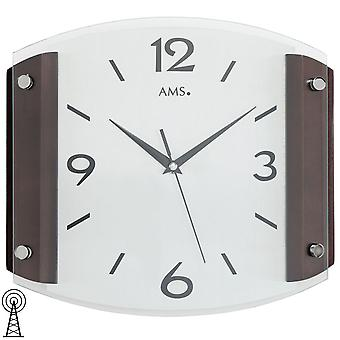 AMS wall clock 5938/1 radio curved mineral glass wood cabinet Walnut colours