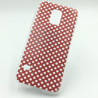 Handy Hülle für Samsung Galaxy S5 Mini Cover Case Schutz Tasche Motiv Slim Silikon TPU Polka Dot Rot