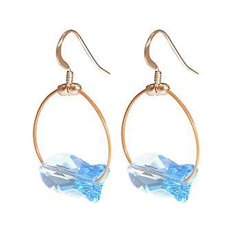 Damen - Ohrringe - Rose Vergoldet - Fisch - Blau - 3 cm
