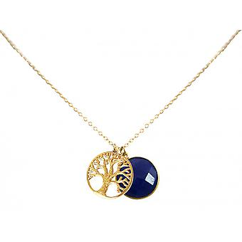 Ladies - - pendant - tree of life necklace - 925 silver plated - sapphire - blue - 45 cm
