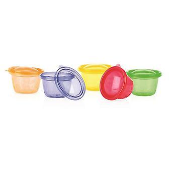 6 farvet skåle med låg (diameter 12cm Ca.) Mad til spædbørn. Let at bære rundt