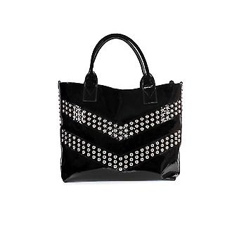 PINKO BLACK PATENT SINAI LARGE SHOPPER