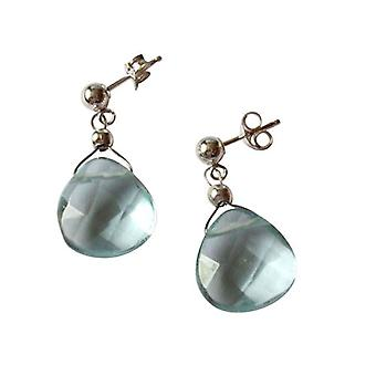 Ladies earrings 925 Silver quartz faceted blue 2 cm