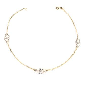 14K Yellow And White Gold Heart Charms Fancy Anklet, 10