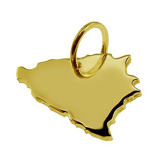 Trailer map pendants in gold yellow-gold in the form of Bosnia