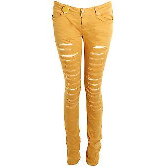 Denim colorido senhoras magro magro rasgado calças Jeans efeito feminino
