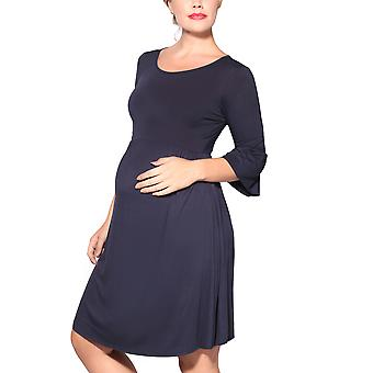 KRISP  Maternity Soft Stretch Jersey Knee Long Ruffle Sleeve Loose Pregnancy Midi Dress