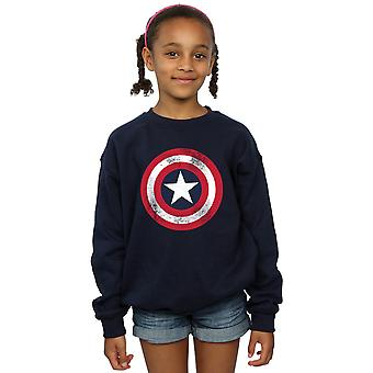 Marvel Girls Captain America Distressed Shield Sweatshirt