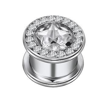 Ouvido o túnel de carne Piercing estrela com Multi cristal claro, joias do corpo | 8-16mm
