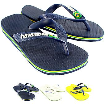 Unisex Kids Havaianas Brasil Logo Rubber Jelly Slip On Summer Flip Flops