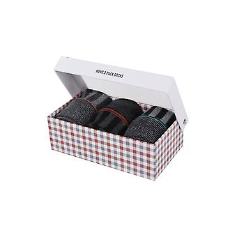 Ben Sherman Men's Gift Set 3 Everyday Calf Socks Charcoal Teal Stripey Morston