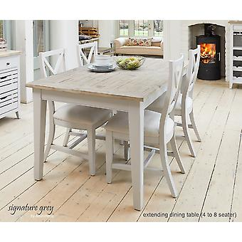 Signature Extending Dining Table Grey Seats Eight People-Baumhaus