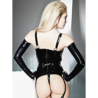 Honour Women's Sexy Basque in Rubber Black Latex Opaque Panelling