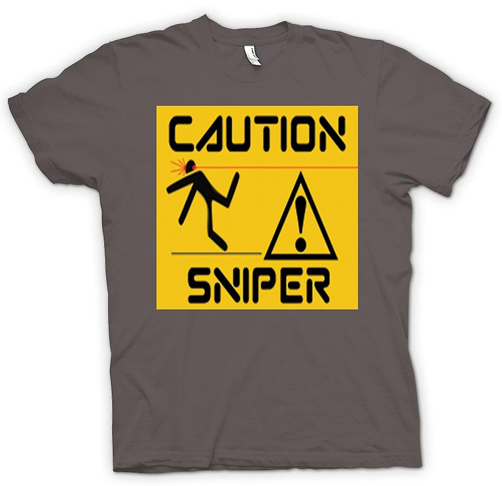 Womens T-shirt - Caution - Sniper Warning Sign
