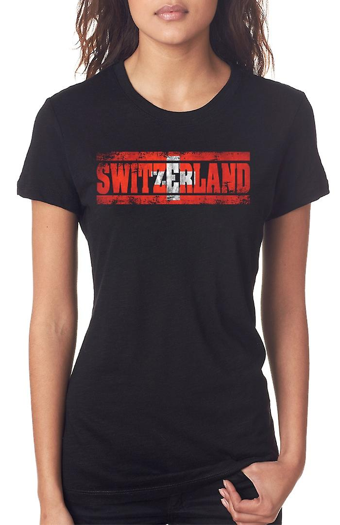Switzerland Flag - Words Ladies T Shirt