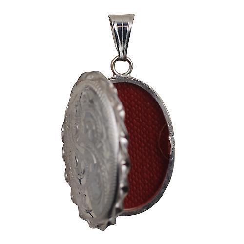 Silber 29x22mm Hand graviert verdrillte Drahtkante ovalen Medaillon